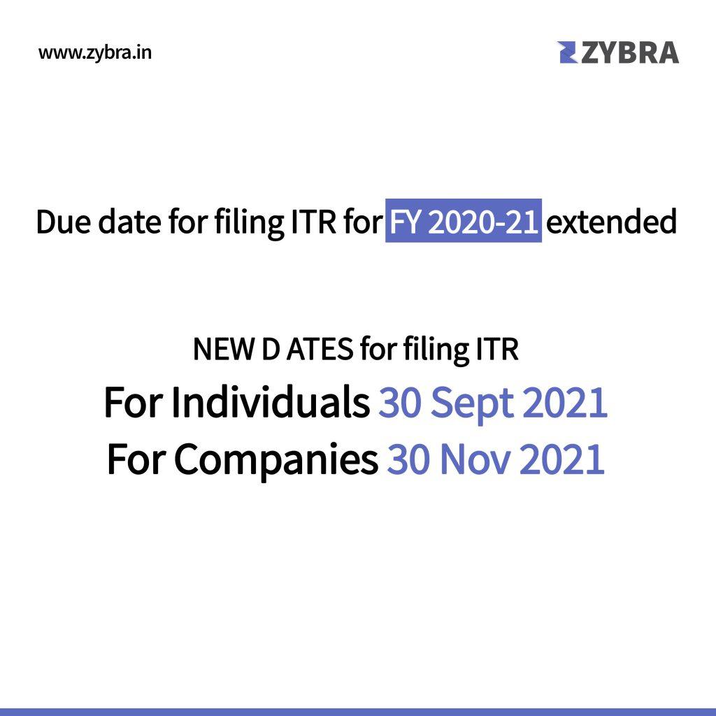 New ITR Dates for FY 2020-21 - new e-filing portal - Zybra - GST Billing & Invoicing